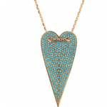 The Long Rose Turquoise Heart Necklace