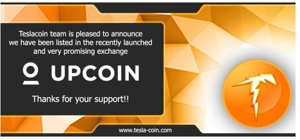 ESLA COIN (TES) - Like A Bolt Of Lightning Secures Listing At UpCoin!