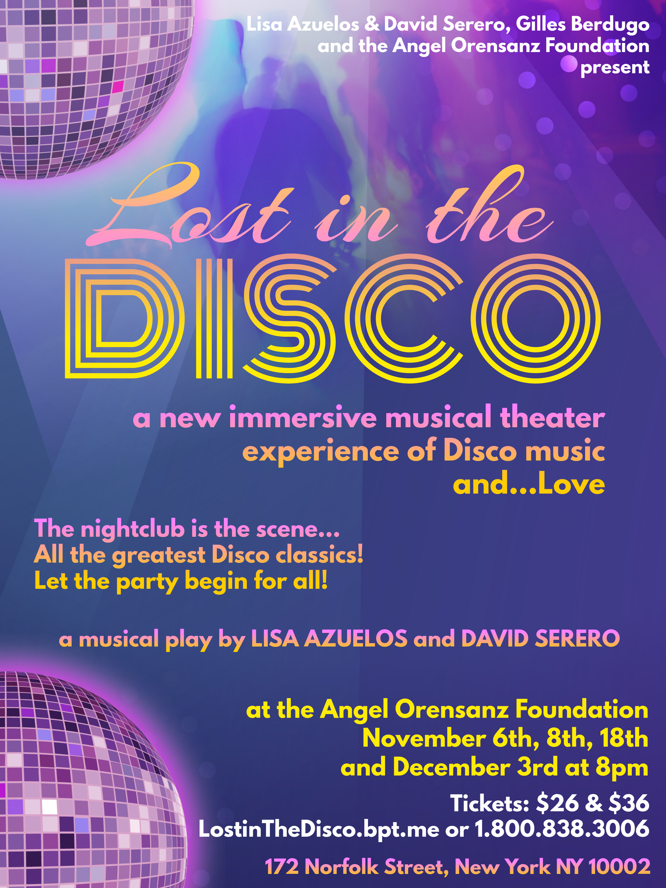 LOST IN THE DISCO an immersive musical around Disco music coming Off-Broadway this November